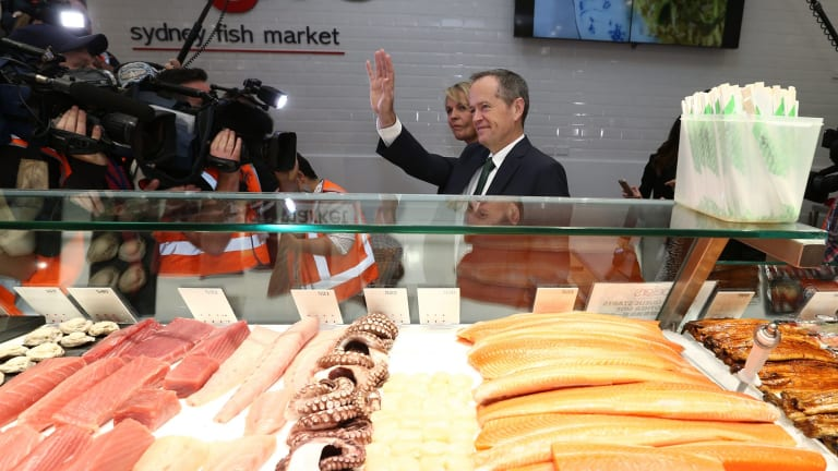 Opposition Leader Bill Shorten visited the Sydney Fish Market.