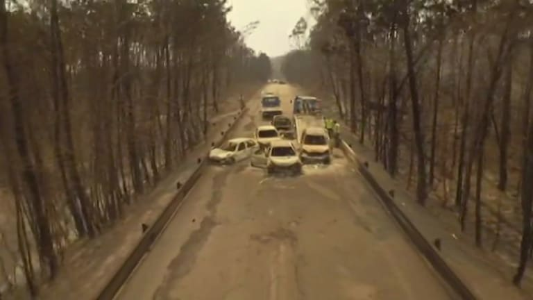 Drone video shows burnt cars on the road between Pedrogao Grande and Figeiro Dos Vinhos, Portugal, after a forest fire on Sunday.