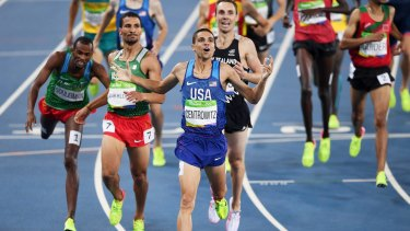 Matthew Centrowitz (USA) wins gold in front of Taoufik Makhloufi (Algeria) and Nicholas Willis (New Zealand) in the Men's 1500m final at the Rio 2016 Olympic Games at the Olympic Stadium on August 20.