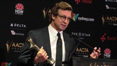 Simon Baker receives the AACTA trailblazer award at the AACTA Awards.