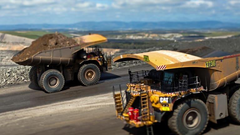 Mining trucks at Glencore's Mt Owen coal mine in the Hunter Valley.