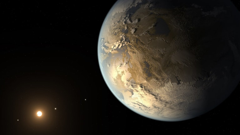 Artist's impression of an earlier discovered exoplanet, Kepler-186f. Unlike Kepler-452b, this planet orbits a cooler red dwarf.