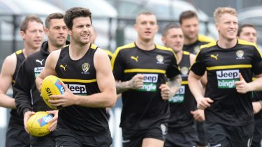 Trent Cotchin at Richmond's light training session on Monday.
