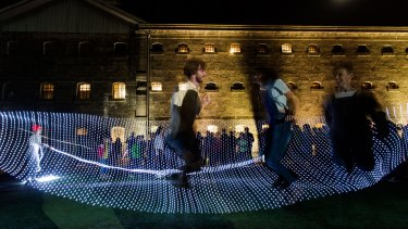 White Night: Group skipping at the Old Melbourne Gaol.