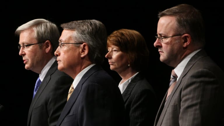 Albanese with (from left) Kevin Rudd, Wayne Swan and Julia Gillard in 2008.