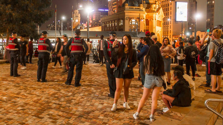 The strong police presence kept Federation Square trouble-free earlier on Saturday evening.