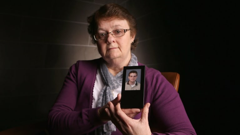 Judith Taylor with picture of her son Lucas who died after taking Nembutal.