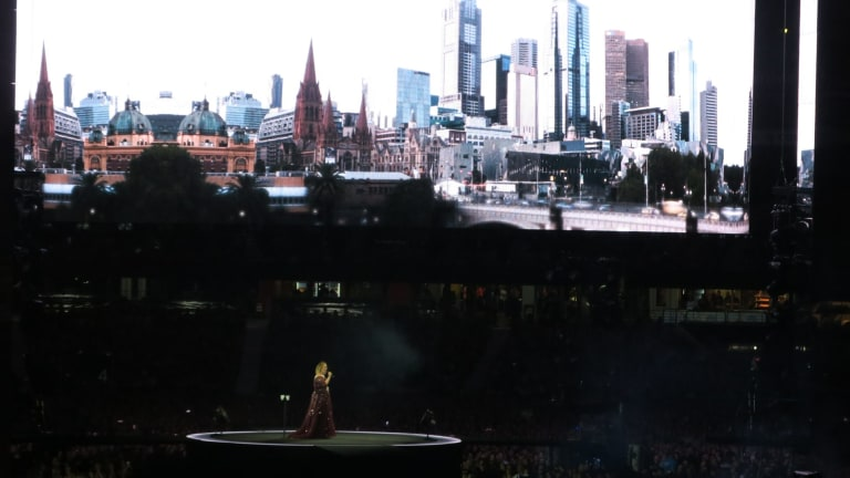 The crowd lapped up the Melbourne-themed visuals.