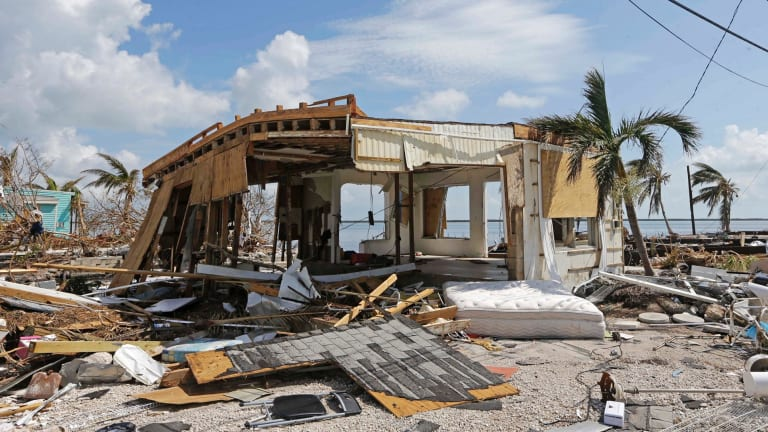 Debris surrounds a destroyed structure in the aftermath of Hurricane Irma.