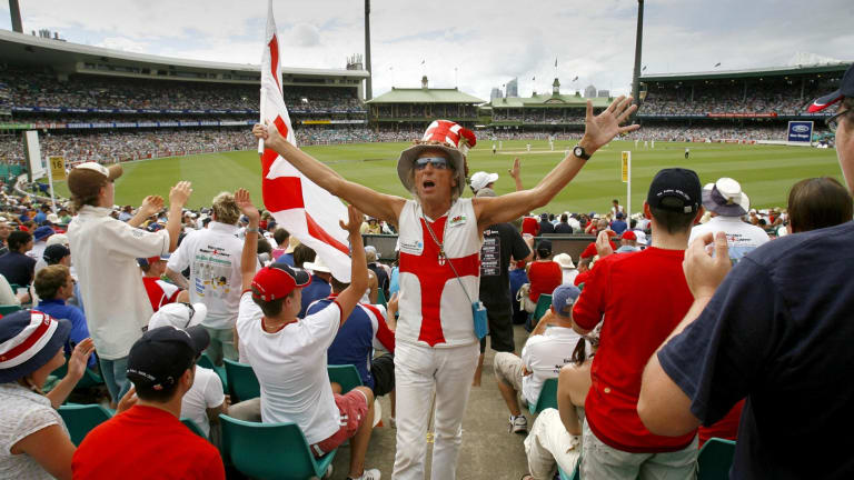 The Barmy Army celebrate the fall of a wicket at the SCG during the Ashes Series in 2007.