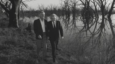 Winning formula: Bob Hawke and Graham Richardson walk among dead box trees at Disher Creek in Renmark South Australia.