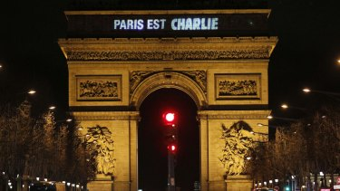 "The message: ""Paris is Charlie"" is projected on the Arc de Triomphe in tribute to the victims of the deadly attacks that rocked France."