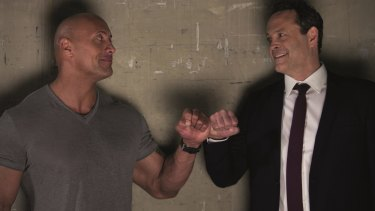 Dwayne Johnson (left) as Himself and Vince Vaughn (right) as Hutch in Fighting with my Family