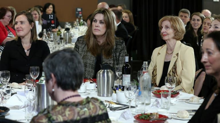 The Prime Minister's chief of staff Peta Credlin (centre), at the Foreign Minister's address.