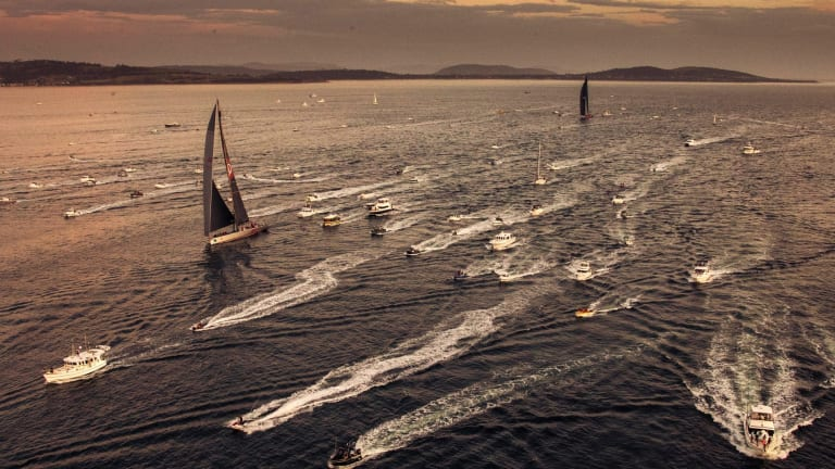 Wild Oats XI, centre left, leads LDV Comanche on the Derwent River.