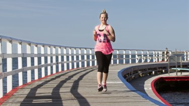 Phoebe Mitchell in training at Eastern Beach in Geelong for The Sunday Age City2Sea fun run.