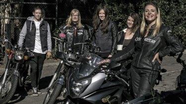 Women motorbike enthusiasts Susan Berg, Gillian Southworth, Hilary Pearce, Kayla Wilson and Simoen Van Der Meent.