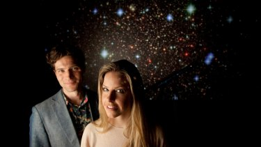 Astronomer Alan Duffy with Pia Demsky at Swinburne University's virtual reality theatre.