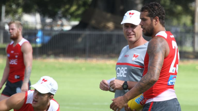 Private matters: Swans coach John Longmire chats with his superstar forward Buddy Franklin.