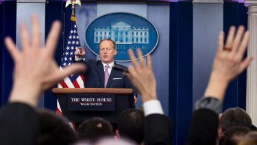 White House press secretary Sean Spicer answers questions during his first briefing in the White House.
