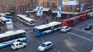 Buses at George and Druitt streets in Sydney