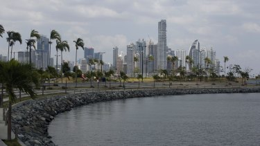 The skyline of Panama City in Panama.