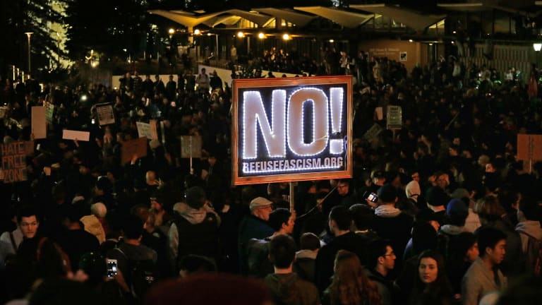 Campus on lock down: Protesters at Berkeley campus on Wednesday.