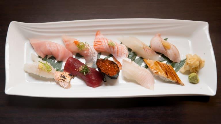 A selection of nigiri and sashimi.