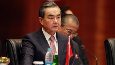 Chinese Foreign Minister Wang Yi attends the Asia Europe Foreign Ministers (ASEM) meeting at Myanmar on Monday.