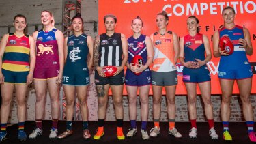 The uniforms for the AFLW teams.