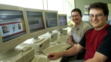 As ATSIC's web manager, Bullock (right) introduced live streaming to Canberra when he streamed the PM XI v ATSIC cricket match online in 2002. Bullock is pictured with then ATSIC multimedia developer Leon Andersen.