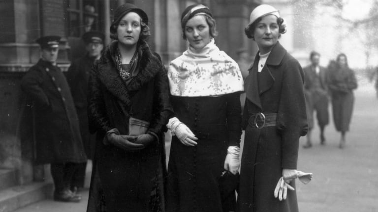 Three of the Mitford sisters at Lord Stanley of Aldernay s wedding. From left to right  Unity Mitford; Diana Mitford  Mrs Bryan Guinness, later Lady Diana Mosley  and writer Nancy Mitford.