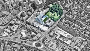 An artist's impression of the Casino Canberra rebuild, next to the Glebe Park block the ACT's Land Development Agency sold for $4.2 million last year.