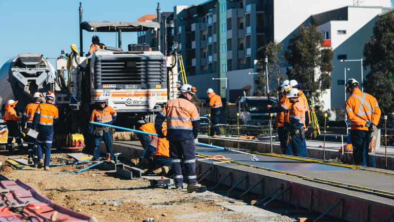 Recent work on the Canberra light rail at Flemington Road.