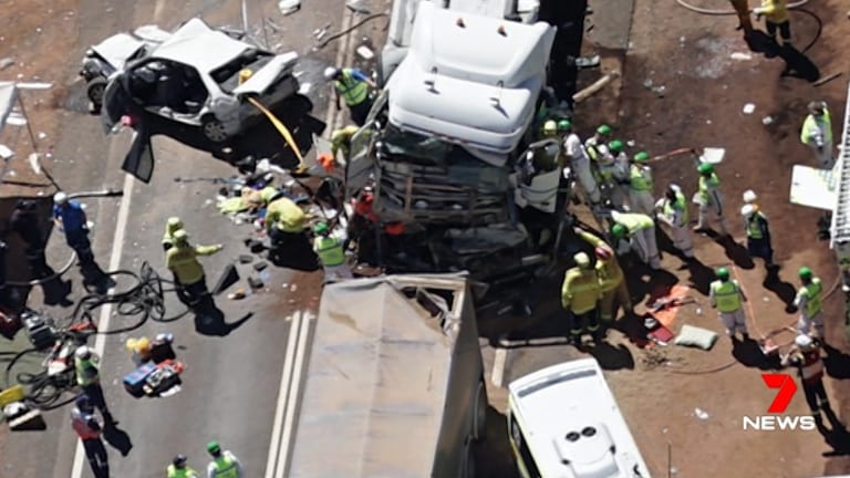 The scene of the fatal truck crash on the Newell Highway near Dubbo on Tuesday.