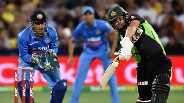 Aaron Finch of Australia bats during game one of the Twenty20 International match between Australia and India at Adelaide Oval on January 26, 2016.