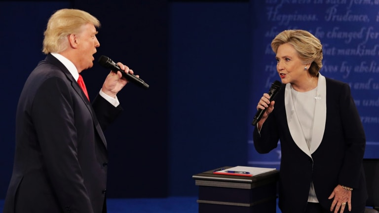 Donald Trump and Hillary Clinton square off in their second presidential debate, at Washington University in St Louis.