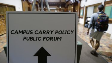 The University of Texas held public forums to discuss how to implement the new 'campus carry' law.