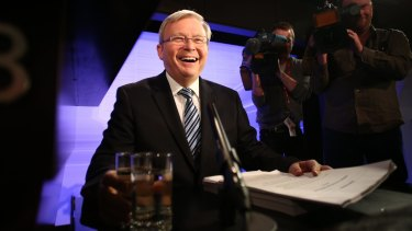 Kevin Rudd on the campaign trail in 2013.