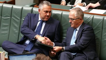There is growing speculation Treasurer Joe Hockey, left, could be replaced by Communications Minister Malcolm Turnbull.