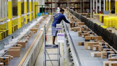 Tthe Amazon Fulfillment center in Robbinsville Township, N.J. Amazon