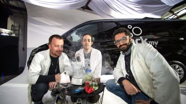 The BioHack Van trio of James Bush, Meow-Ludo Meow Meow and Enrico Penzo want to put a scientific lab in a van.