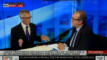 Labor's David Feeney left behind the briefing notes after a car crash interview with Sky's David Speers on Wednesday.