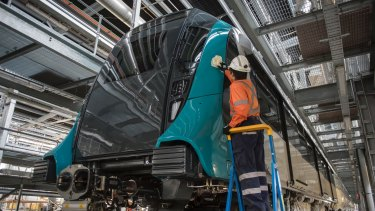 The first train for Sydney's $8.3 billion Metro Northwest at Rouse Hill.