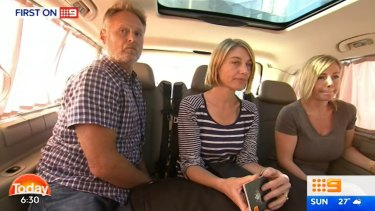 Reporter Tara Brown, centre, sound recordist David Ballment, left, and Sally Faulkner, right, after being released from a Beirut jail.