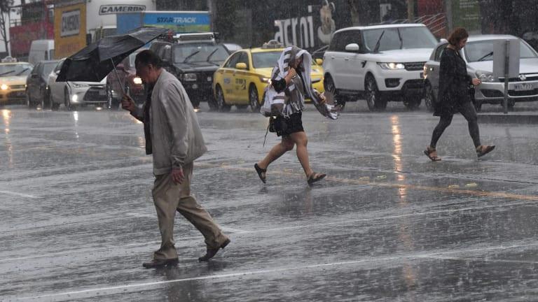 Heavy rain hits the city, Melbourne.