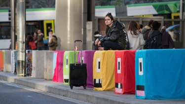 Decorated bollards at Southern Cross Station.
