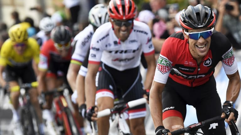 Contender: Richie Porte leads out from Alberto Contador in last year's Tour.