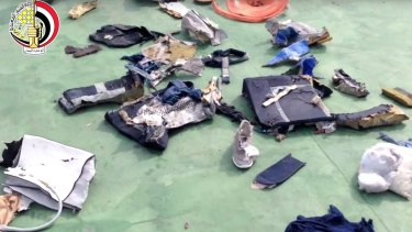 Personal belongings and other wreckage from EgyptAir flight 804 retrieved from the crash site.