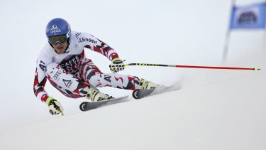 Matthias Mayer speeds down the course on Friday.
